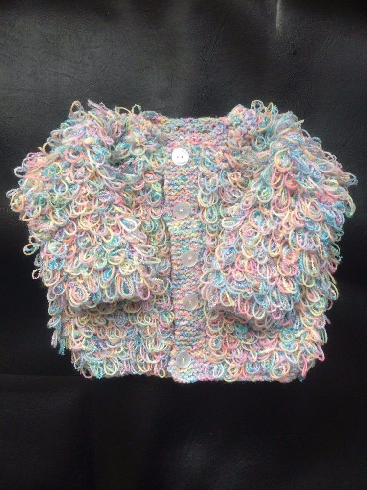 433f8f1454bf Hand Knitted Baby Loopy Cardigan Coat Girl Multi Coloured Wool 0-3 ...