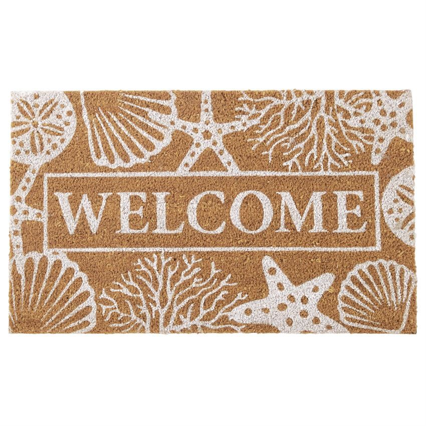 Rubber Backed Woven Coir Door Mats Feature Printed Message Welcome Surrounded By Sea Life