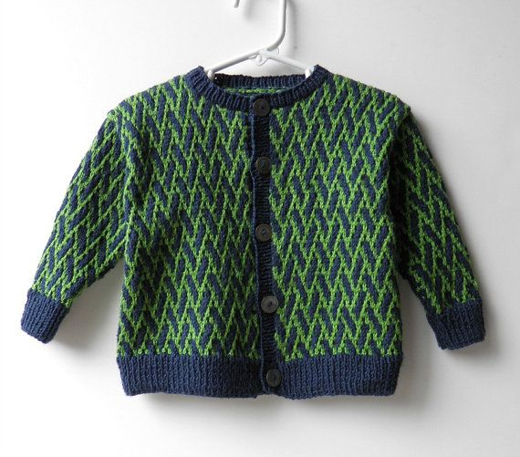 80bc63c91edc Hand Knit Baby Sweater Designer Navy and Lime Green Pattern Toddler Knit  Cardigan 12 Months op Etsy