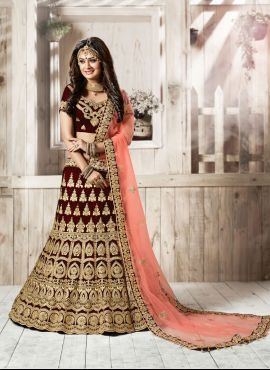 28e6ccf7b0 Wine Red designer velvet lehenga choli for brides in 2019 | arshit ...