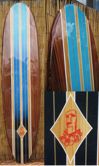 Easter Island Decorative Wood Surfboard Wall Art For A Coastal Beach