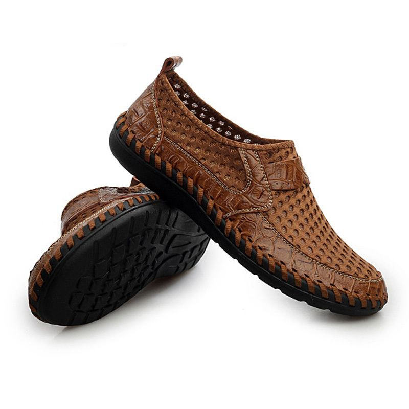 Men Shoes Casual Men Loafers Slip On Men Genuine Leather Shoes