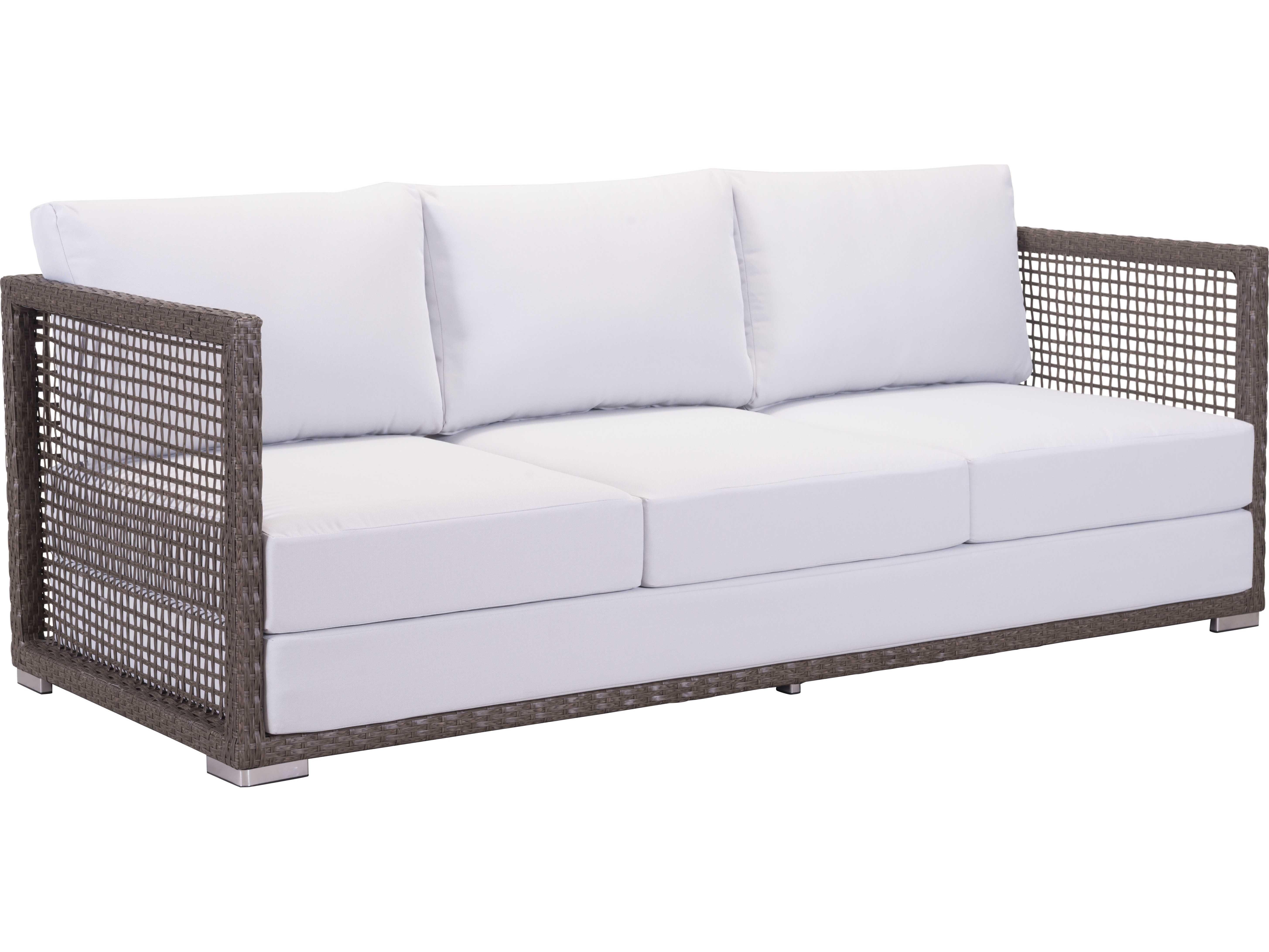 Zuo Outdoor Coronado Aluminum Wicker Sofa In Cocoa Amp Light