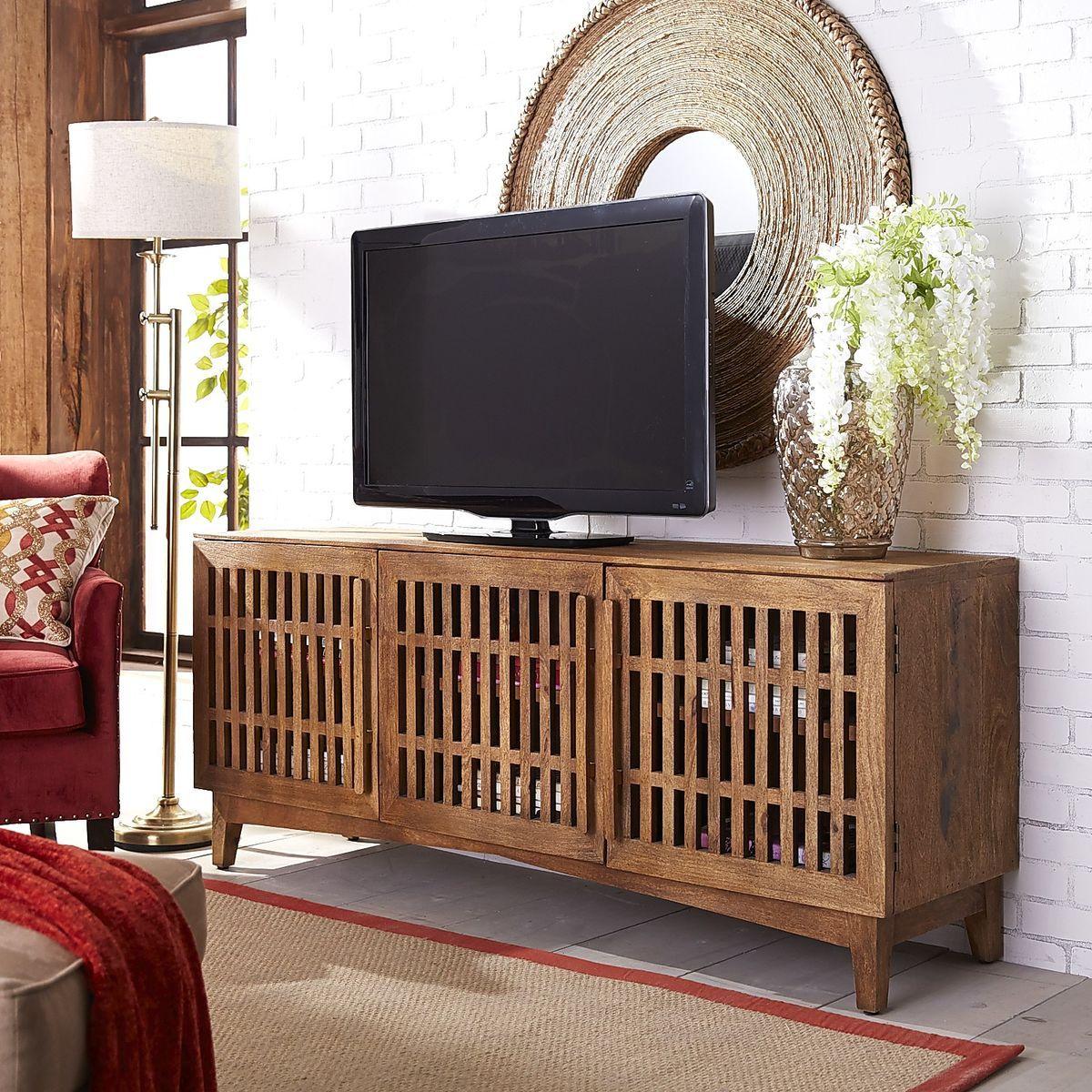 Vertical Slat TV Stand Java Medium Pier  Imports TV Stand - Pier 1 living room