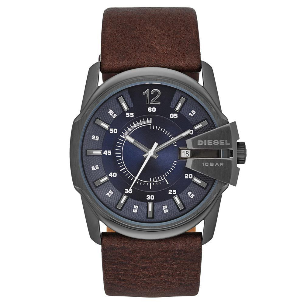 9b2ca632c Diesel DZ1618 Men s Master Chief Only The Brave Navy Blue Dial Dark Brown  Leather Strap Watch