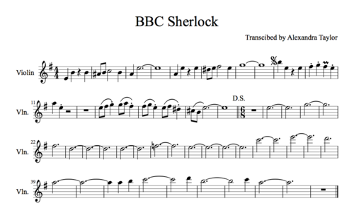 Sherlock theme song sheet music for violin pics