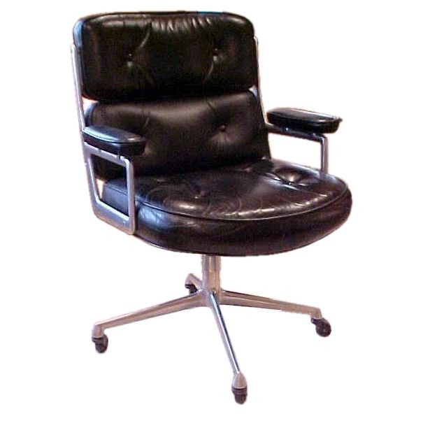Vintage Time Life Desk Chair By Herman Miller In Black Leather