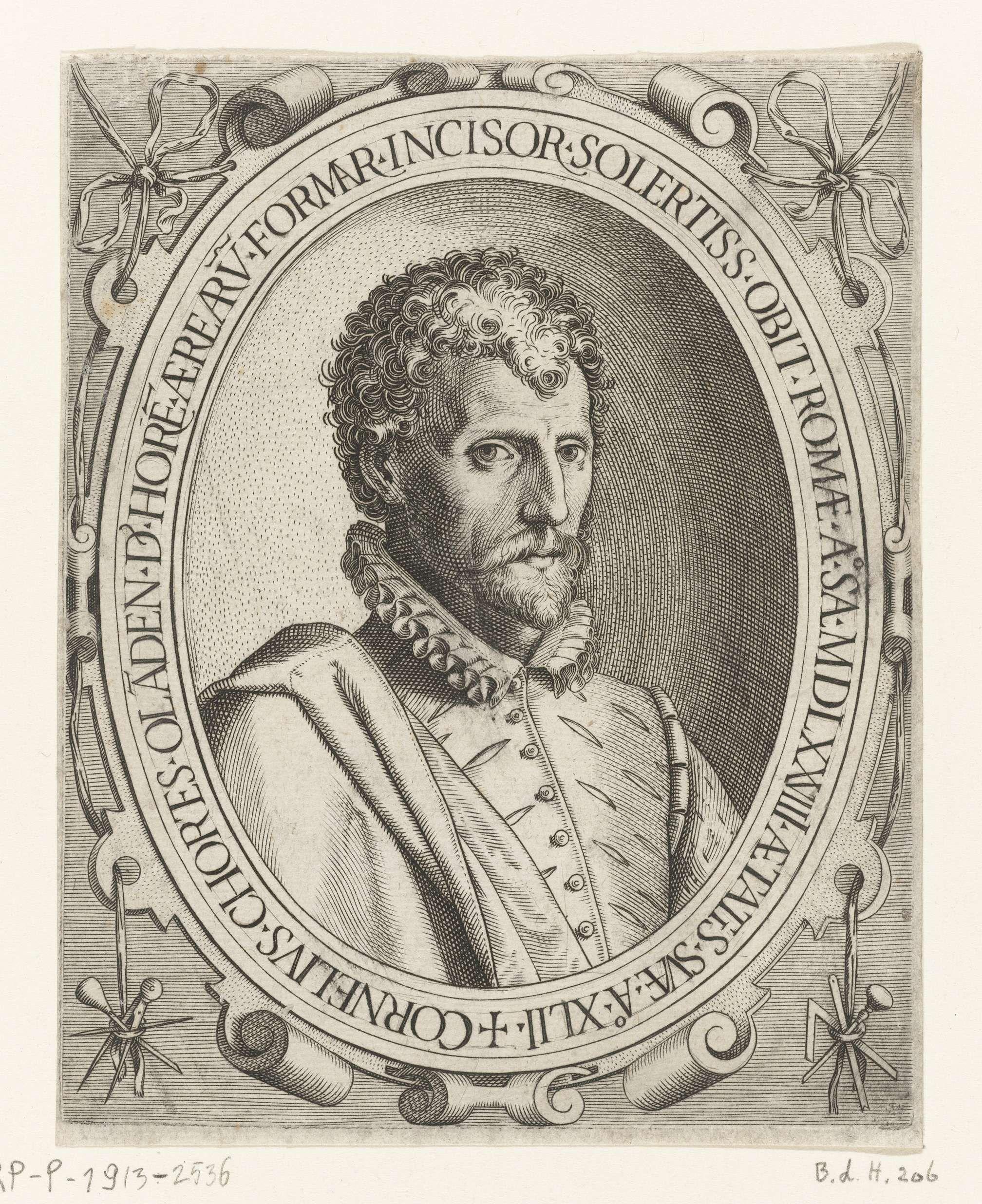 Gijsbert van Veen | Portret van Cornelis Cort, Gijsbert van Veen, Anonymous, Lodewijk Toeput, in or after 1578 | Portret van de graveur Cornelis Cort, op 42-jarige leeftijd, in ovaal met randschrift.