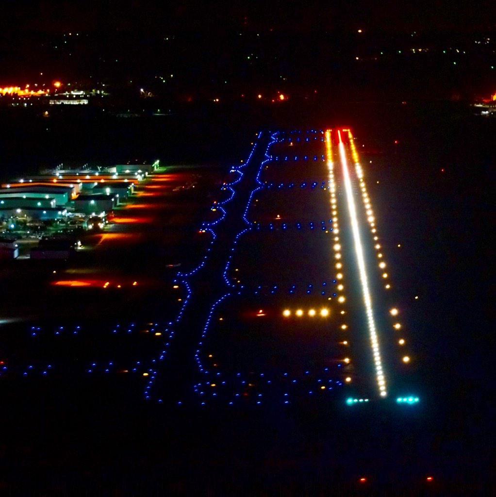 Night Flight Runway Lights Taxi Way Lights In Blue Aviation