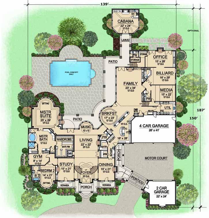 Main Floor Plan 15079 Sq Ft 7 Bedrooms 7 1 2 Baths 2 Stories