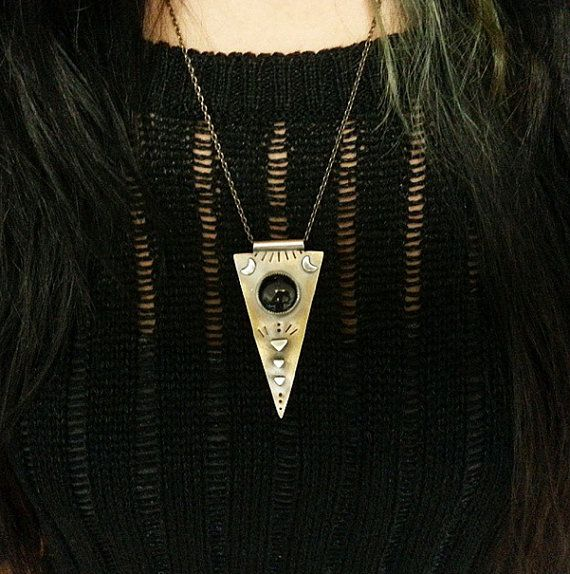 Blue Goldstone Necklace with Moons and Triangles in by StarNative