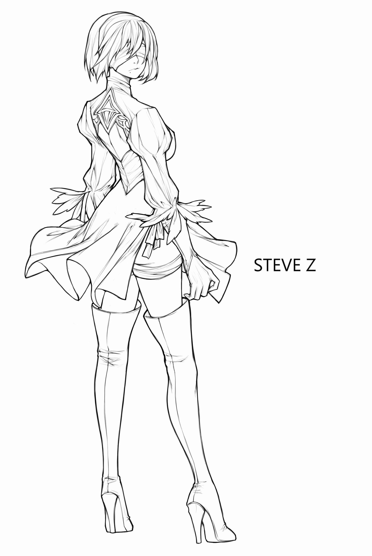 Artstation 2b Steve Zheng Anime Lineart Anime Poses Reference Hipster Drawings