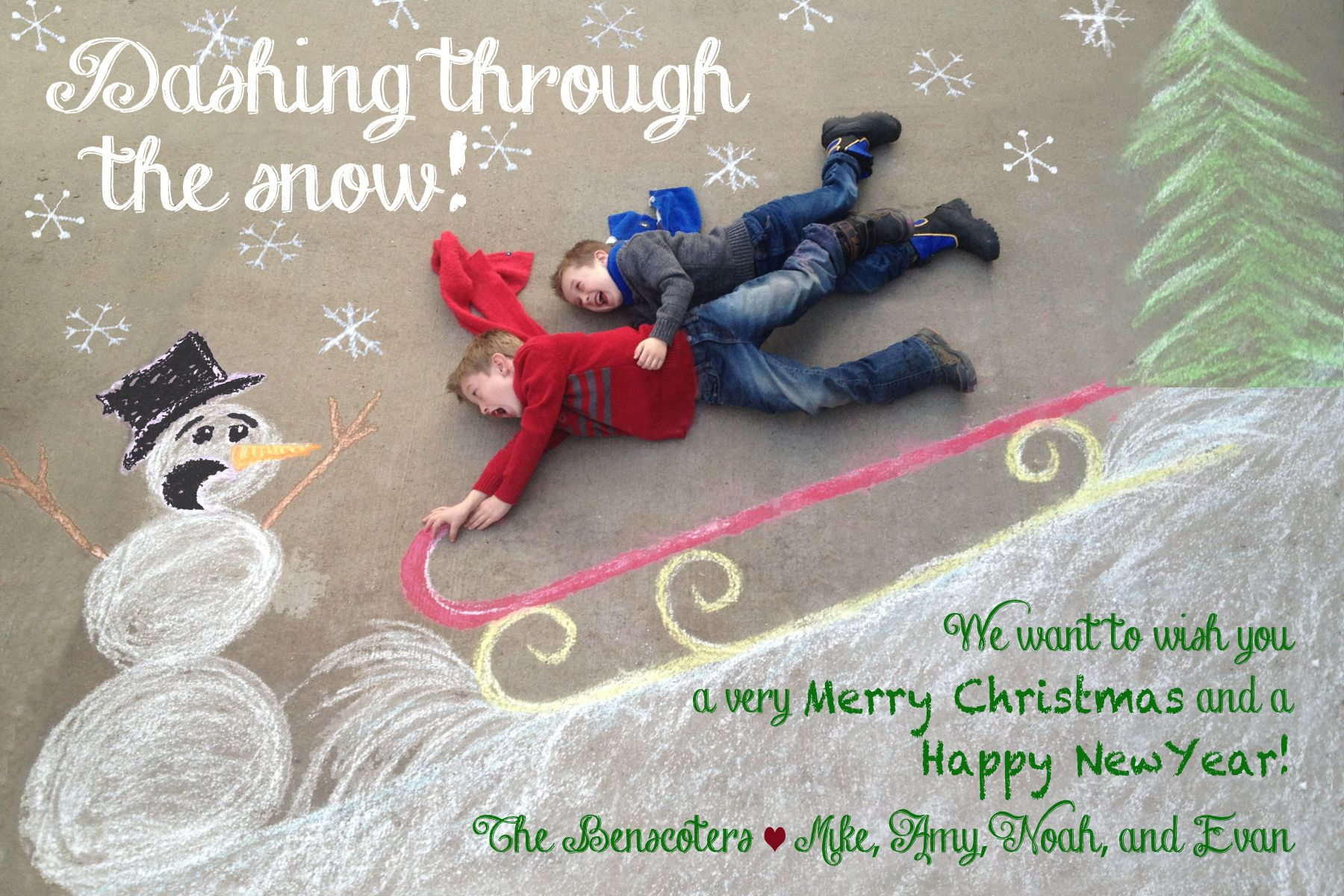The Benscoters Christmas Card Chalk Art Drawn On Our Driveway