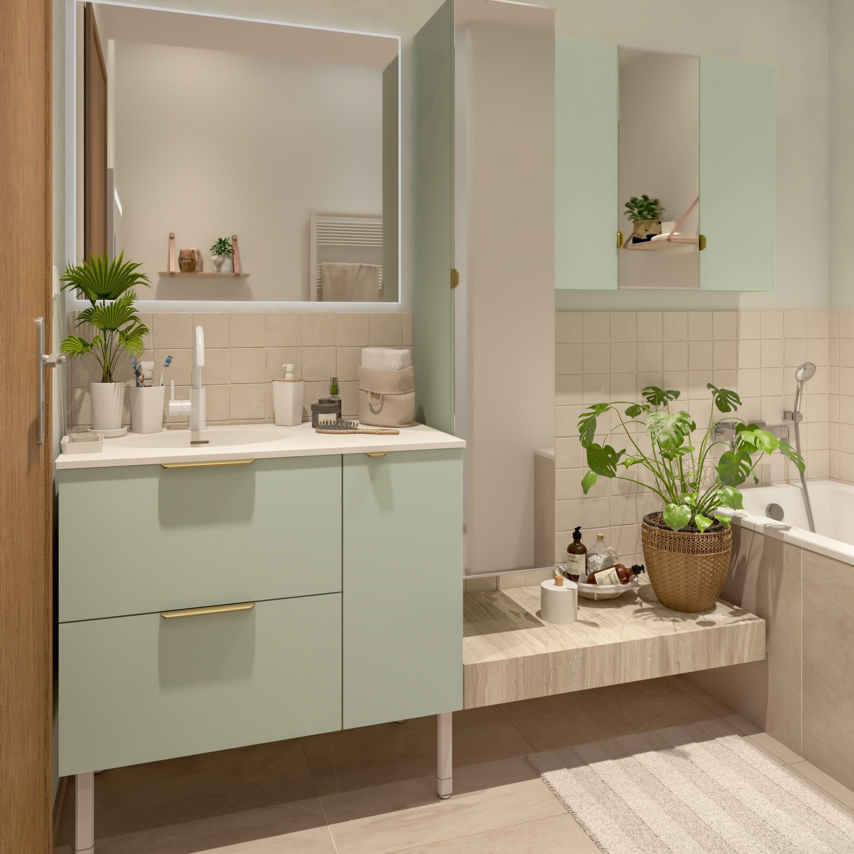 Meuble Simple Vasque L 90 X H 64 X P 48 Cm Vert Sage 5 Neo Line En 2020 Salle De Bain Zen Salle De Bain Simple Et Decoration Interieure Luxe