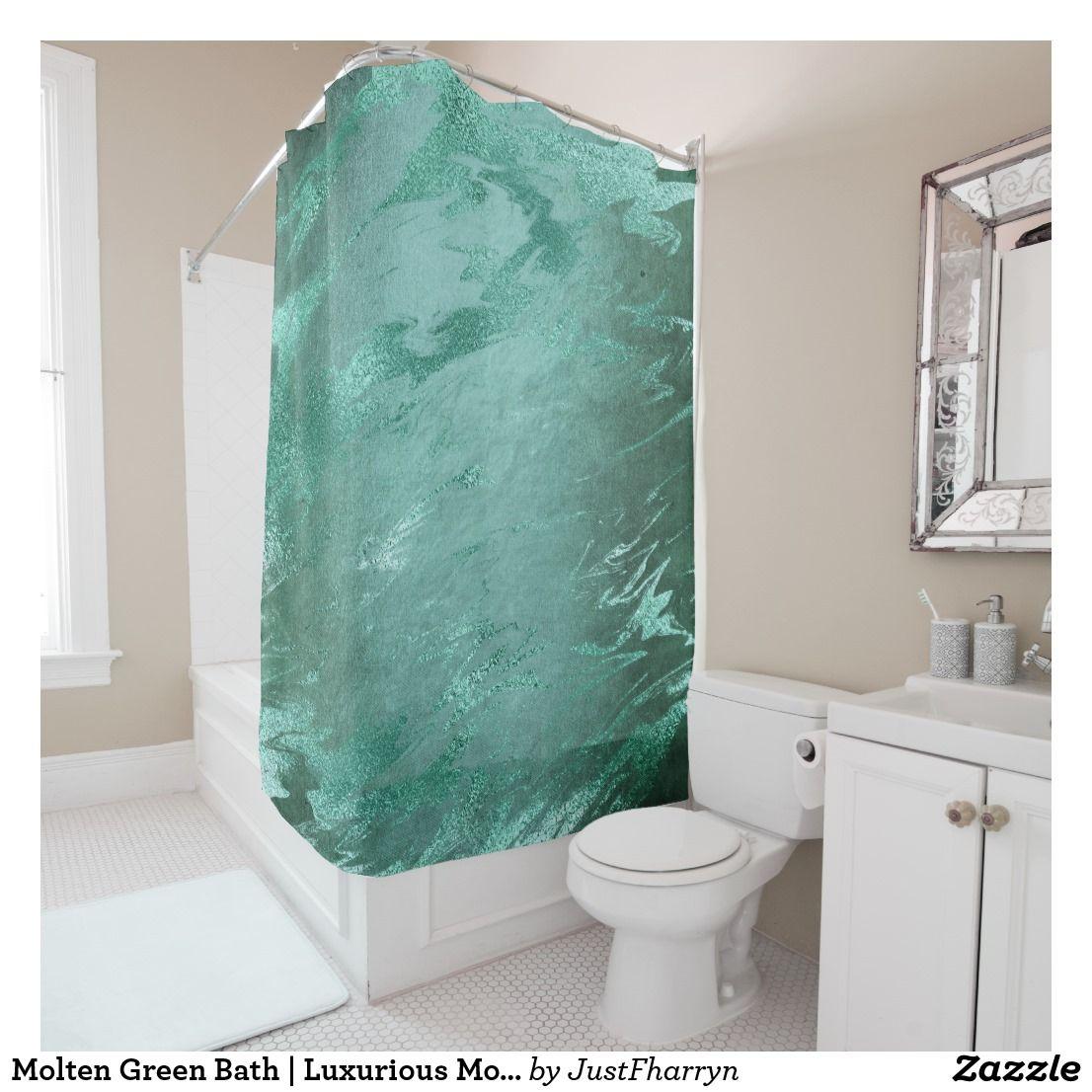 Molten Jade Emerald Green Luxury Marble Shower Curtain Zazzle Com Boho Shower Curtain Patterned Shower Curtain Mermaid Shower Curtain
