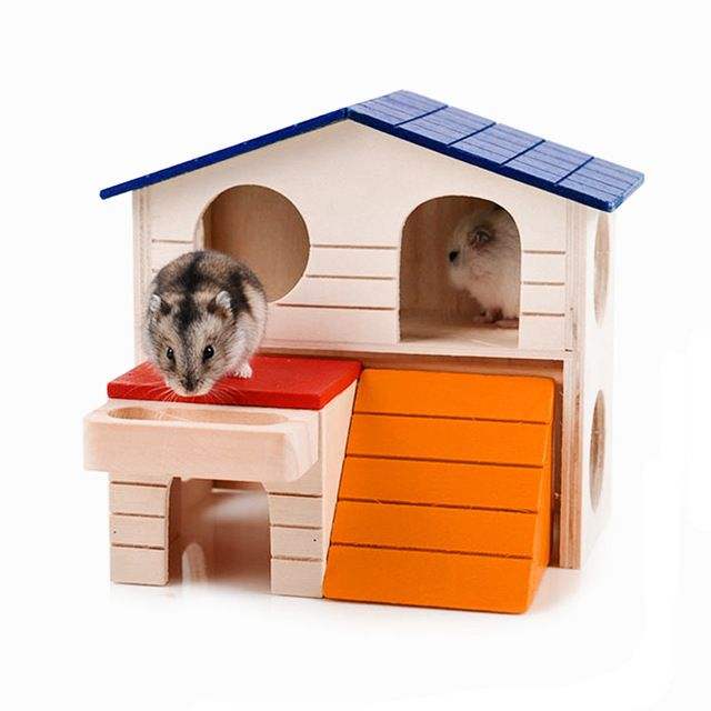 1 Pc Wooden Hamster House Ladder Pets Small Animals Rats Rabbits Hideout Luxury Home 2 Storey Platform Playhouse Nest Supplie Small Pets Hamster House Pet Cage
