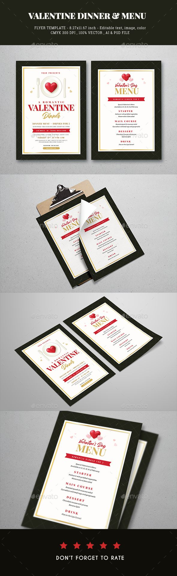 Valentine Dinner Flyer  Menu Template  Menu Templates Template