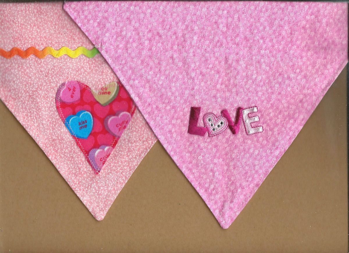 Pretty in Pink Dog Valentine's Day Dog Bandanna Size Small by FurriPersonal on Etsy