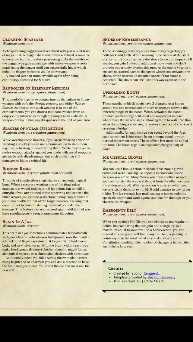 Wearable Magic Items Hmbrw Other Dnd 5e Homebrew Dd Dungeons