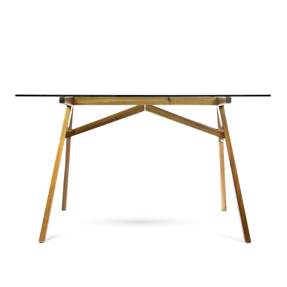 Noble House Camila Mid Century Modern Dusk Gray Tempered Glass Desk With Natural Stained Acacia Wood Fram Glass Desk Glass Office Desk Modern Glass Desk Office