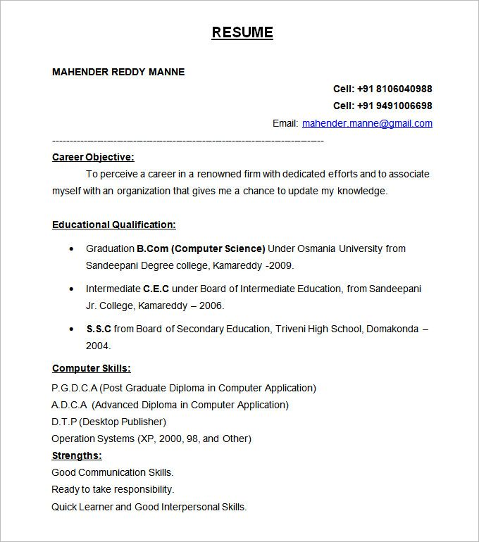 best resume formats free samples examples format download sample - resume format for freshers download