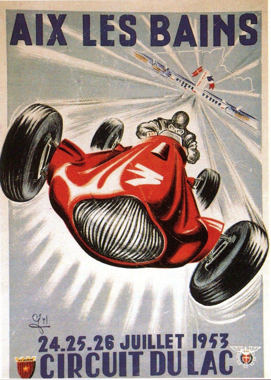aix les bains circuit du lac 1953 racing poster ye olde travel transportation pinterest. Black Bedroom Furniture Sets. Home Design Ideas