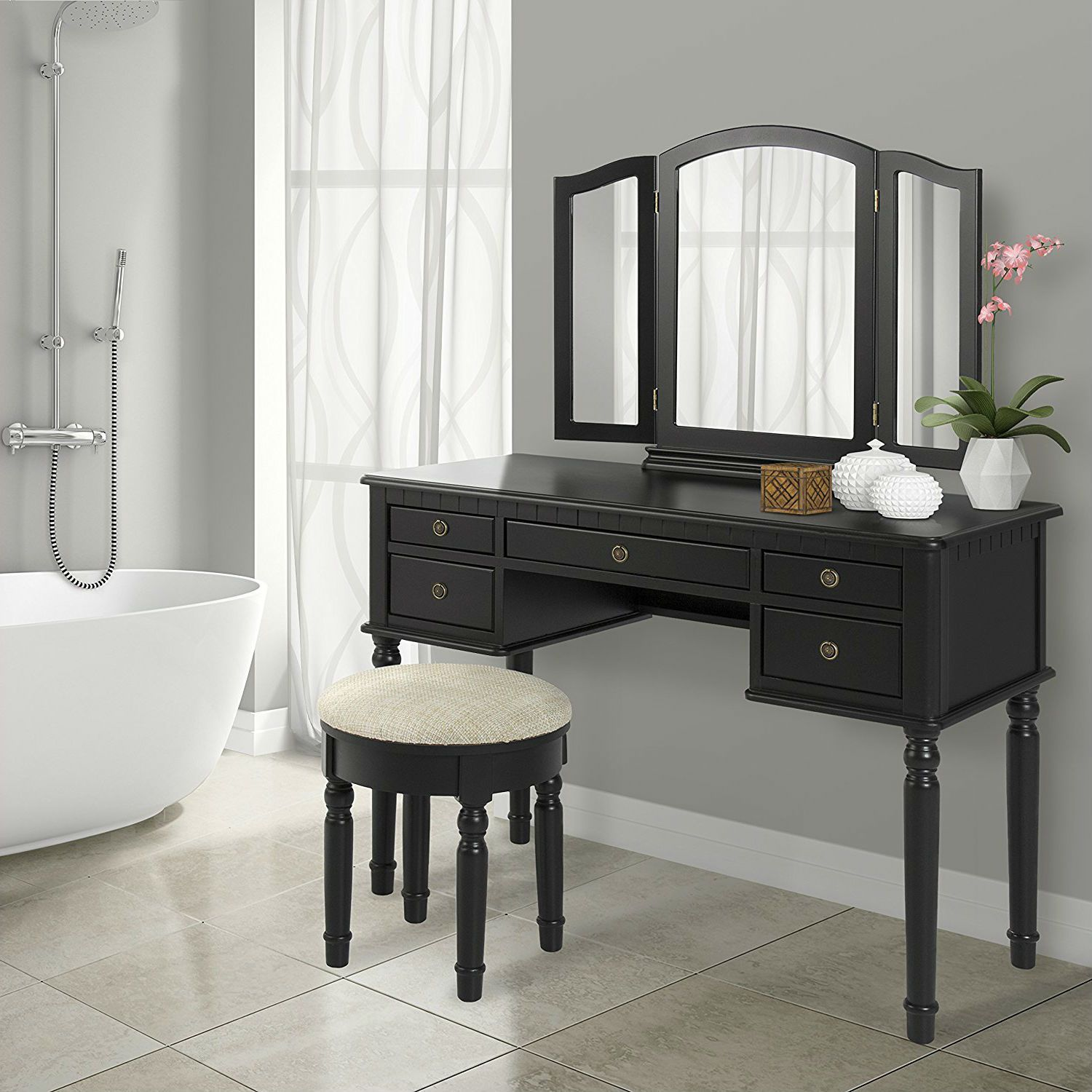 Black Vanity Set with Makeup Table, TriFold Mirror, and