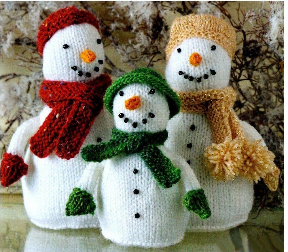 3 LOVELY SNOWMEN. TO KNIT, DK LAMINATED KNITTING PATTERN ...
