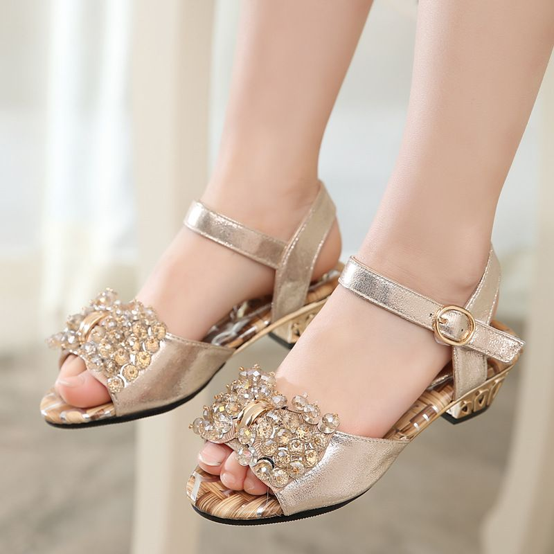 Girls Summer Princess Rhinestones Sandals Kids  Casual Party Ankle Strap Shoes