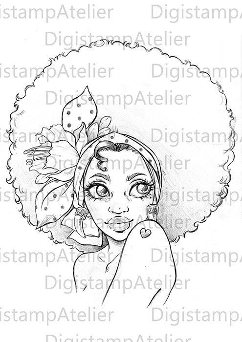 Afro Girl Instant Download Digital Digi Stamps Afro Girl