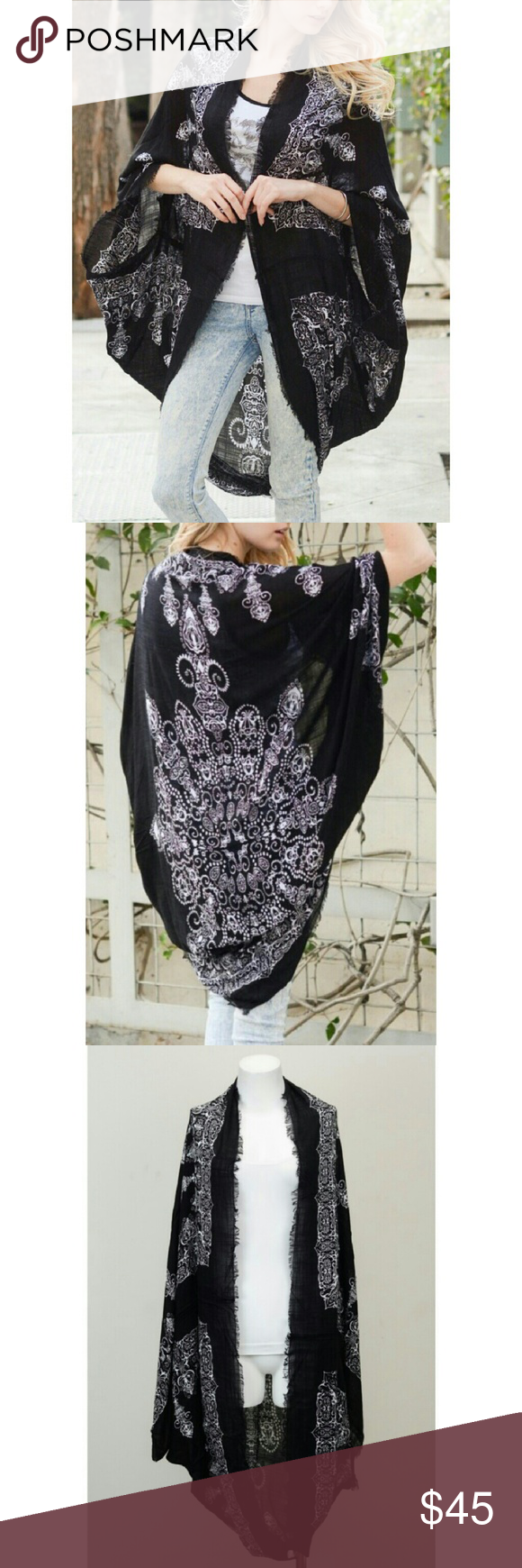 """Coming Soon Mandala Kimono 100% Polyester Approximately 45"""" Long Lightweight  Price will be $25 Jackets & Coats"""