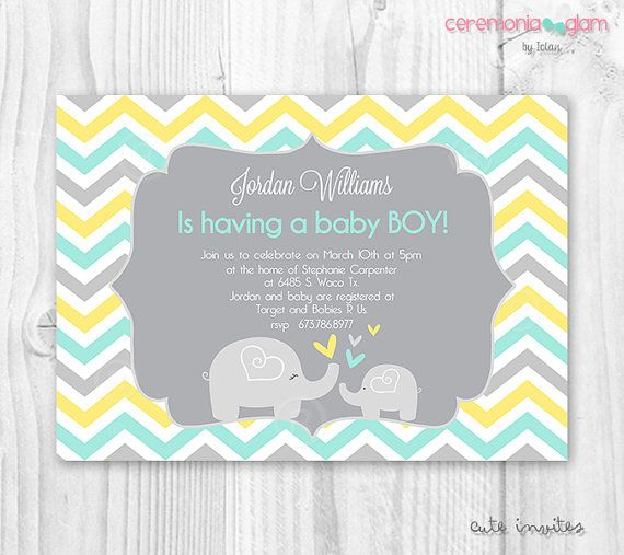 Baby shower elephant invitation chevron yellow mint and grey baby shower elephant invitation chevron yellow mint and grey stopboris Gallery