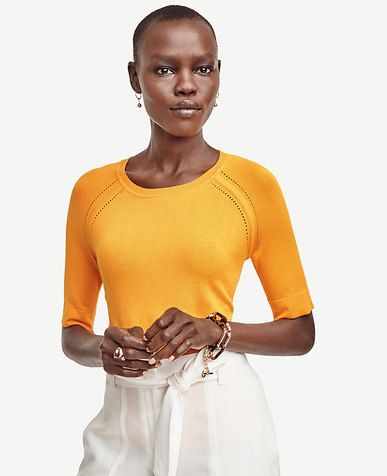 Image of Short Sleeve Sweater- lovely color and details. Conservative neckline - nice.