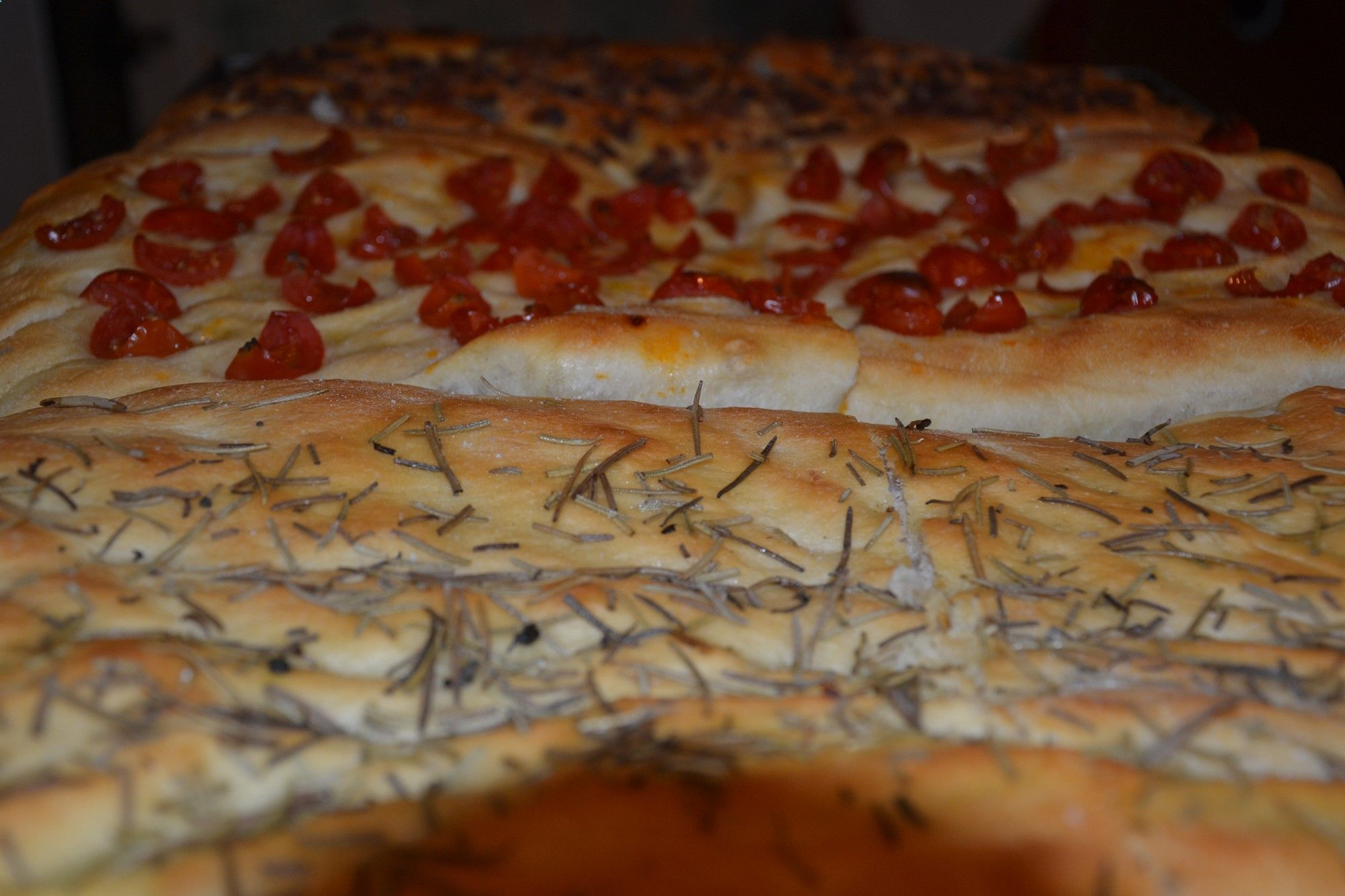 ADLER FOCACCIA - by Chef Gaetano. Mix 550 gr semolina, 200 gr wheat flour 0, 0.6 l water, 25 gr salt, 1 cube of yeast (22 gr), 35 gr olive oil, be careful to keep salt and yeast separated: Add them separately, mix before adding the second. Let them rise for 30 min. Knead and form into focacce. Place the focacce on a lightly greased oven tray and let rise another 30 – 40 min. Top with tomatoes, onions, Tuscan sausage or simply salt  rosemary and bake in preheated oven at 392° F for 20 –...