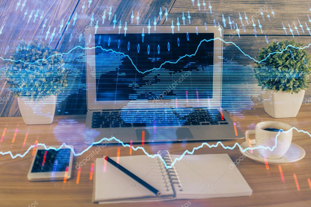 Multi exposure of chart and financial info and work space