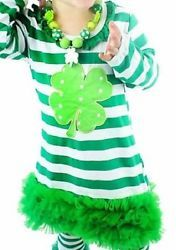 St Patrick's Day Green Striped Shamrock Dress