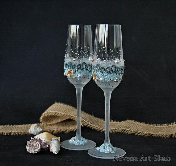 Beach Champagne: Beach Wedding Glasses, Champagne Flutes, Starfish Glasses