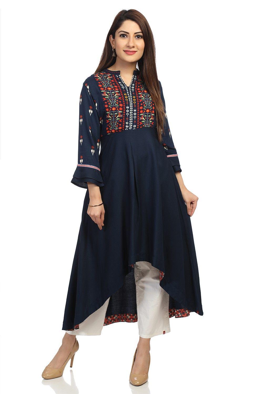 efc466fdba5114 Buy Online Blue Rayon Flared Kurta for Women   Girls at Best Prices in Biba  India