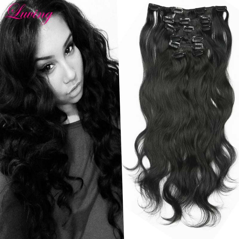 Brazilian Clip In Human Hair Extensions Body Wave Clip Ins For Black