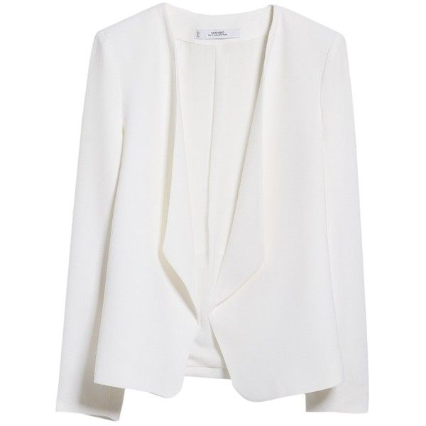 Mango Waterfall Structured Jacket , Natural White (68 BRL) ❤ liked on Polyvore featuring outerwear, jackets, blazer, tops, coats, natural white, white jacket, structured blazer, waterfall jacket and short blazer jacket
