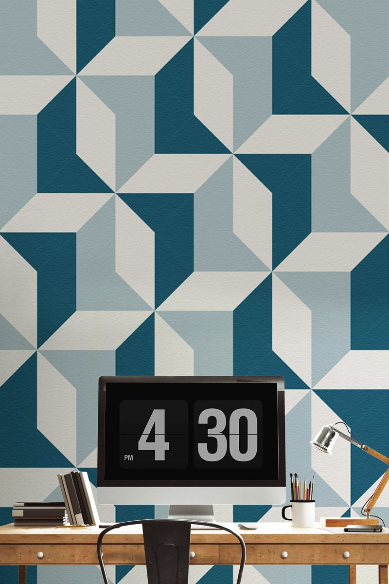 Modern Wallpaper Designs For Walls: Abstract Blue Geometric Wallpaper In 2019