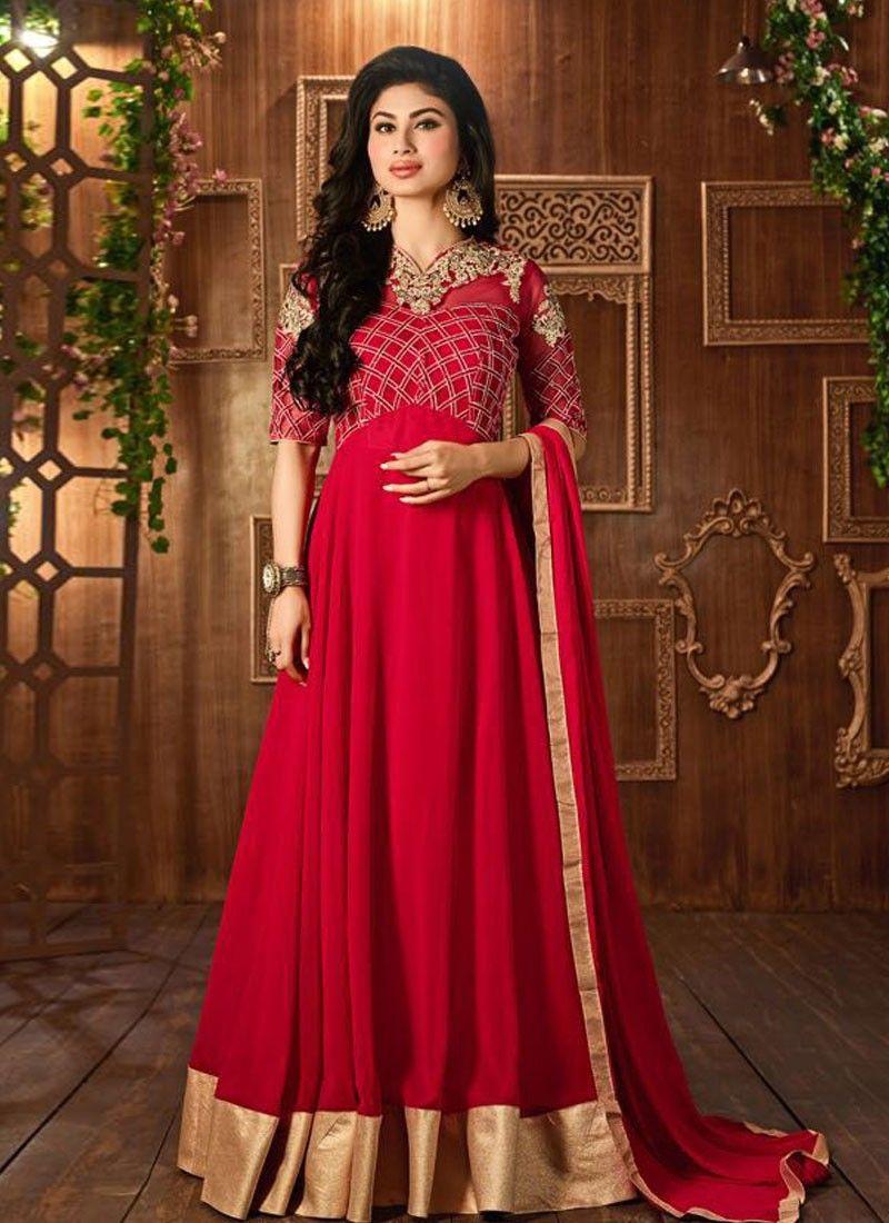417cb86cb buy saree online Mouni Roy Red Colour Georgette Party Wear Long Anarkali  Suit Buy Saree online - Buy Sarees online
