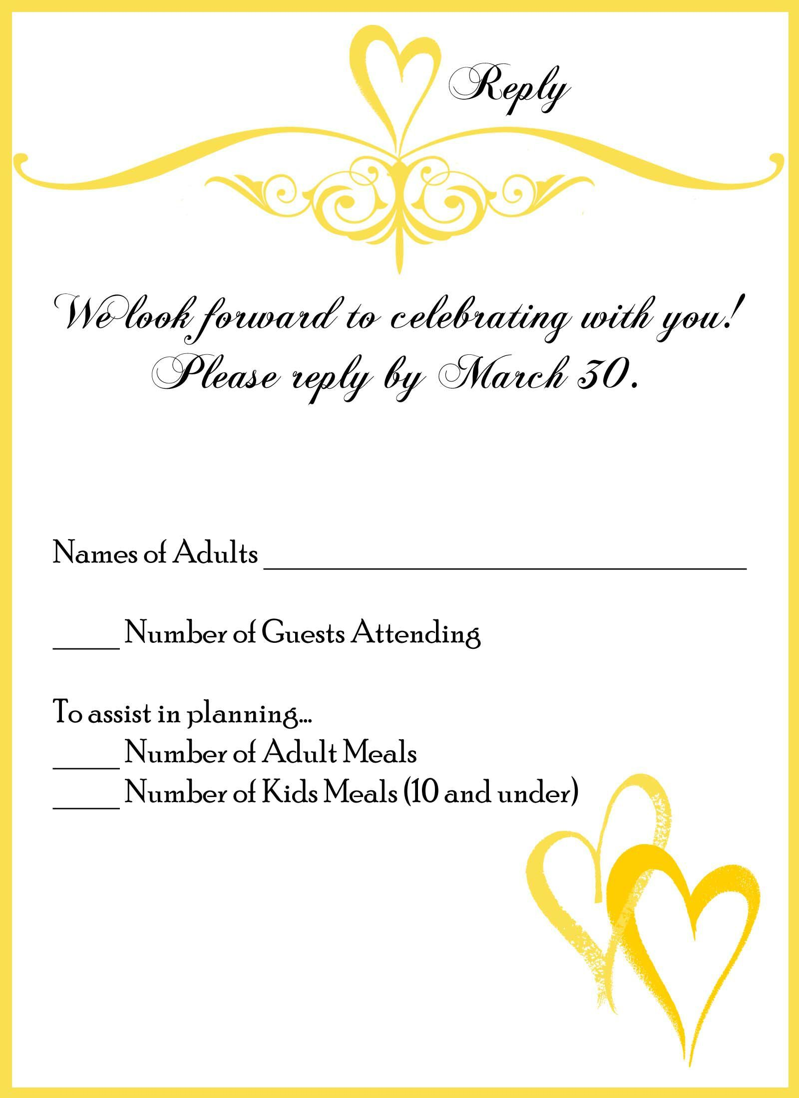 Wedding Response Card Wording Allergies Wedding Invitations
