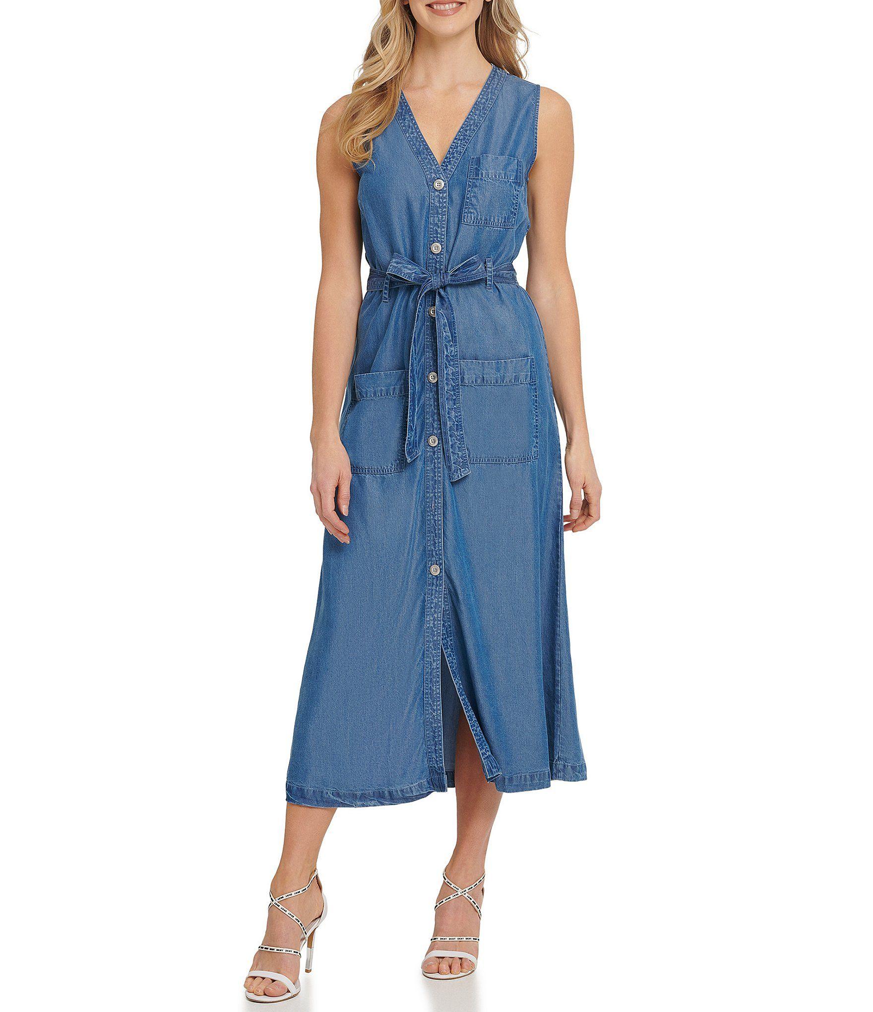 Dkny Jeans Lightweight Denim V Neck Sleeveless Button Front Belted Midi Dress Dillard S Denim Dress Summer Shirt Dress Chambray Shirt Dress [ 2040 x 1760 Pixel ]