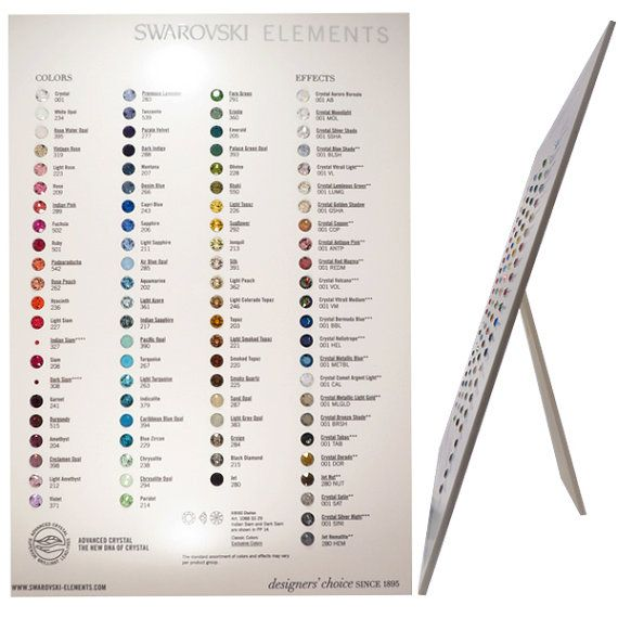Official Swarovski Crystal FLATBACK Color Chart by BestBuyDesigns - sample diamond chart