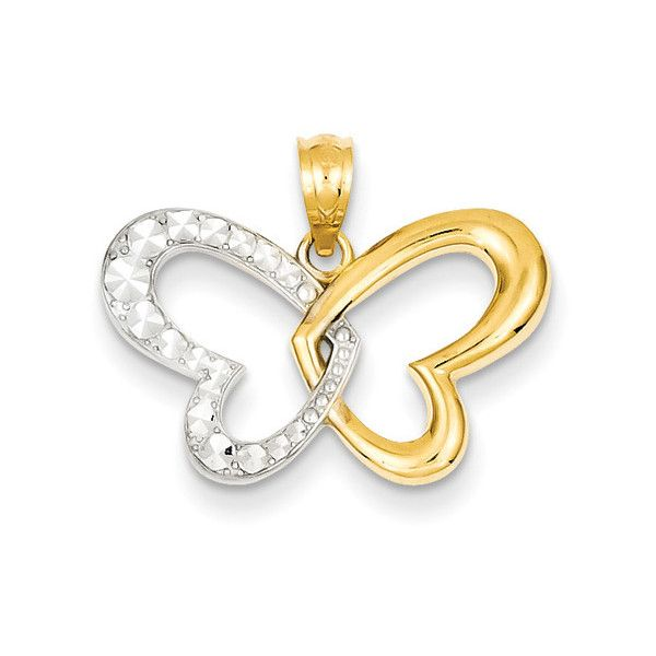 Butterfly Heart Pendant in 14K Gold €120 ❤ liked on Polyvore