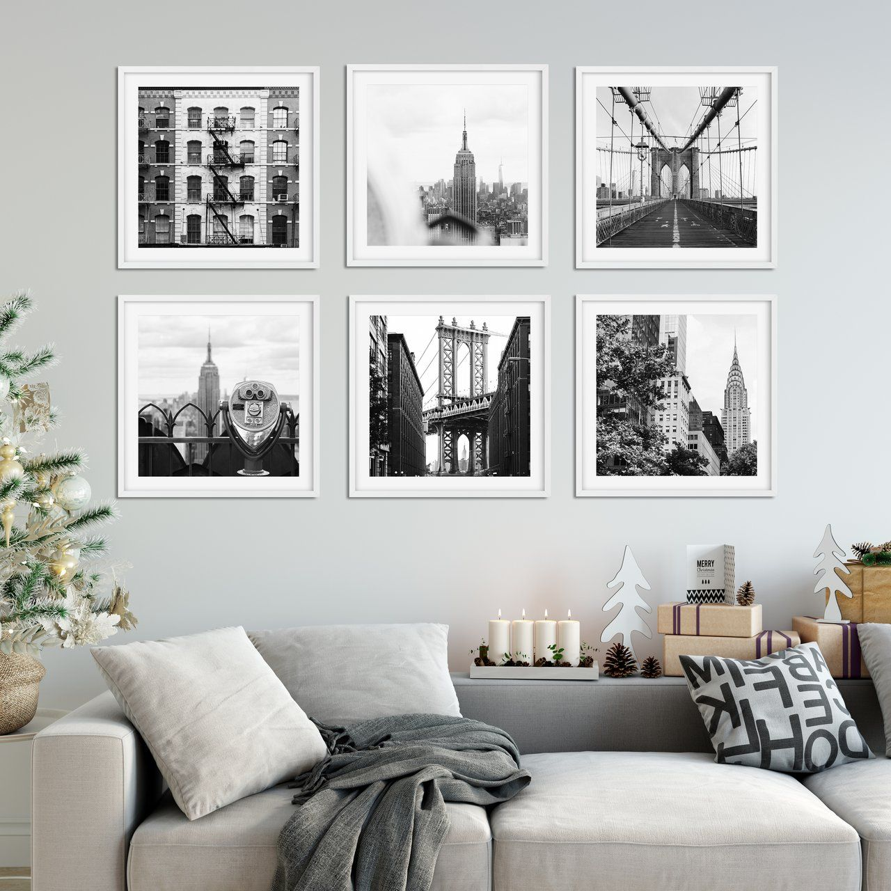 Nyc Square B W Gallery Wall Bundle Picture Wall Living Room Wall Decor Living Room Gallery Wall Living Room
