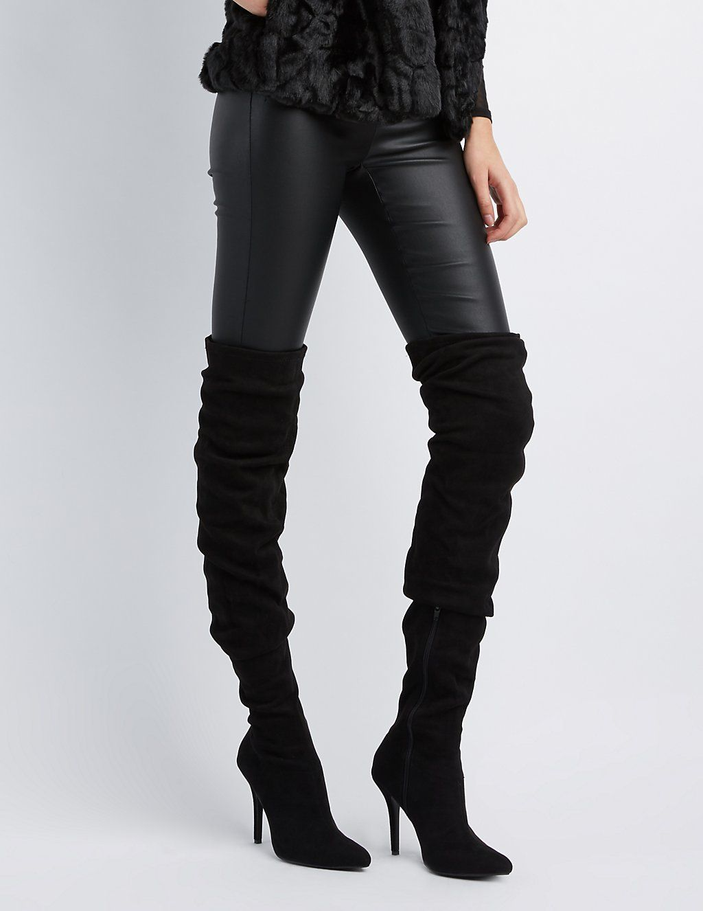 4c4bee1e5ab3 Faux Suede Ruched Pointed Toe Over-The-Knee Boots | Charlotte Russe ...