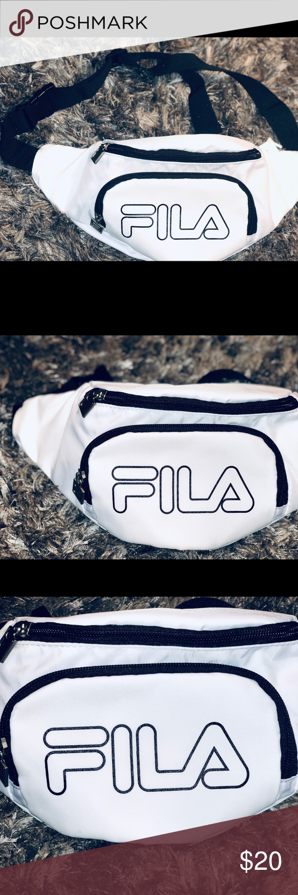 7c568bc0fcac White & Black FILA Fanny Pack Shoulder Hip sack 100% woven nylon printed  FILA linear logo three exterior zip pockets adjustable strap Fila Bags  Luggage ...