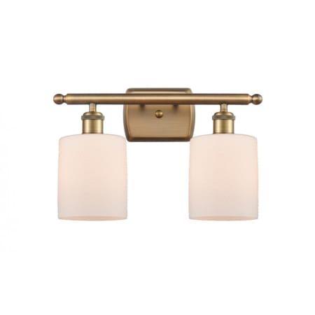 """Photo of Innovations Lighting 516-2W-BB-G111 Brushed Brass / Matt White Cobbleskill 2 Light 16 """"Wide Bathroom Vanity Light"""